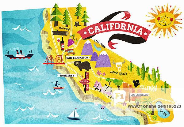 Landkarte mit touristischen Attraktionen in Kalifornien
