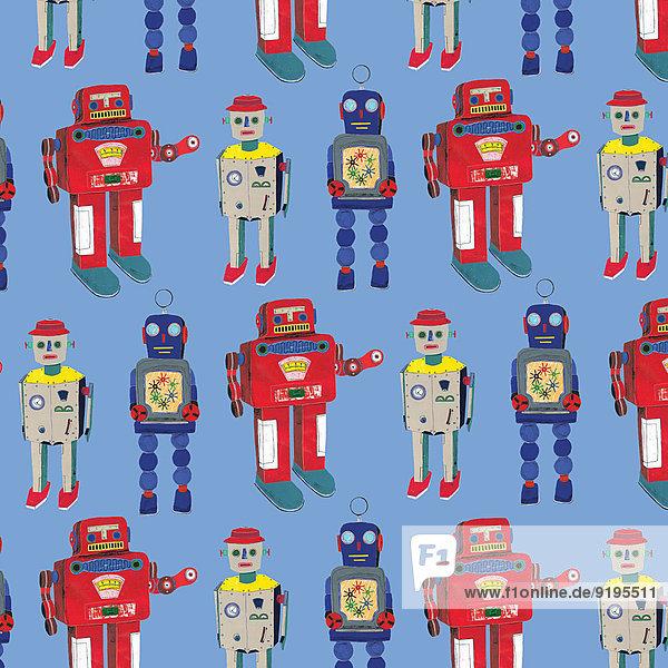 Muster von unterschiedlichen altmodischen Robotern die in einer Reihe stehen