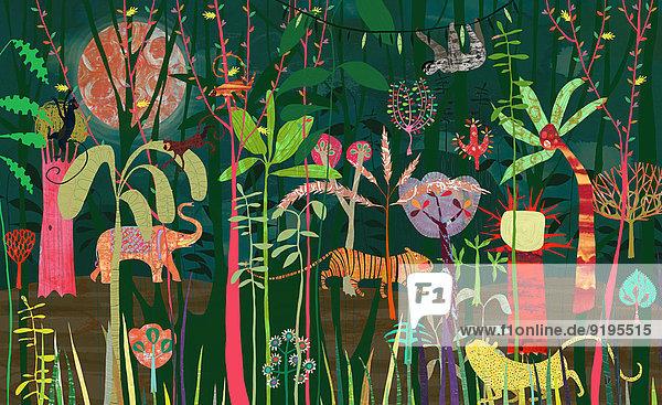 Wilde Tiere in einem üppigen leuchtend bunten Dschungel Wilde Tiere in einem üppigen leuchtend bunten Dschungel