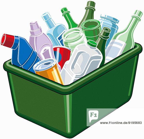 Plastik  Dosen und Glas in einer Recycling-Box Plastik, Dosen und Glas in einer Recycling-Box
