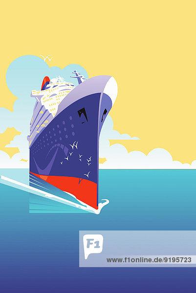 Luxuriöses Kreuzfahrtschiff fährt durch ruhiges Meer