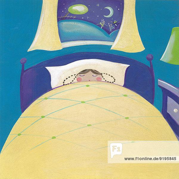 Mädchen schläft nachts im Bett  draußen spielen Spielzeuge