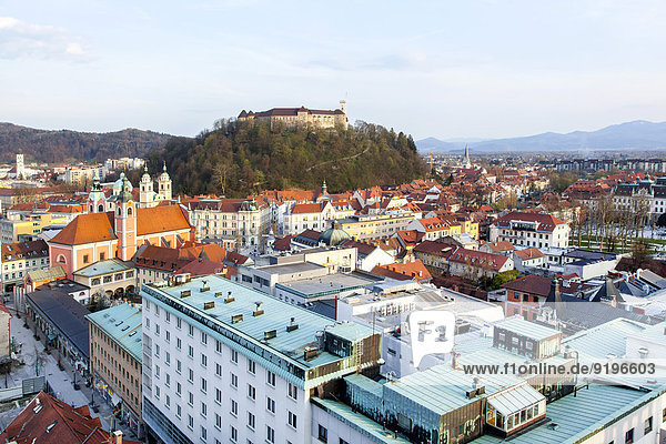 View across the historic centre with the castle hill and the castle  landmarks of Ljubljana  Slovenia