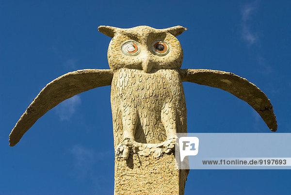 Owl sculpture  The Owl House  Museum of artist Helen Martins  Nieu-Bethesda  Cacadu District  Eastern Cape Province  South Africa