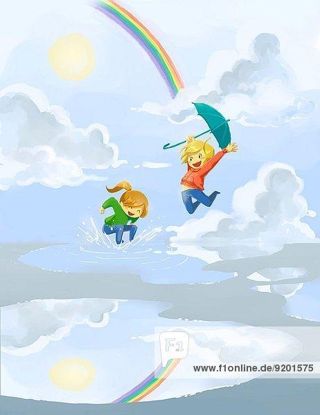 Fröhlichkeit Tag Regen springen Pfütze Geschwister