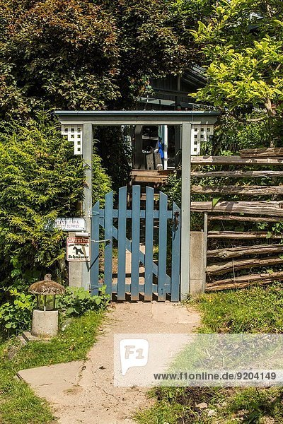 a gate at a farm house on Saturna Island  Gulf Islands  British Columbia  Canada.