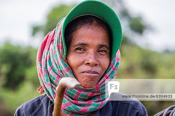 Portrait of a woman from the village of Kampong Tralach on the Tonle Sap River  Kampong Chhnang Province  Cambodia (Khmer).
