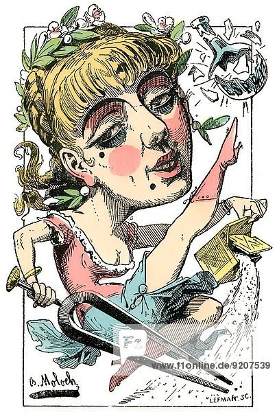 Operetta  personified as Zoe Operette  caricature  1882  by Alphonse Hector Colomb pseudonym B. Moloch  1849-1909  a French caricaturist.
