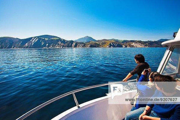 Excursion by boat between Zumaia and Deba to see the Flysch. Gipuzkoa. Guipuzcoa. Basque Country. Euskadi. Pais Vasco. Spain.