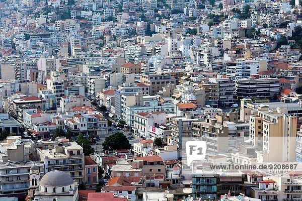 Großstadt Festung Ansicht Erhöhte Ansicht Aufsicht heben Geographie Nachmittag Griechenland Kastro
