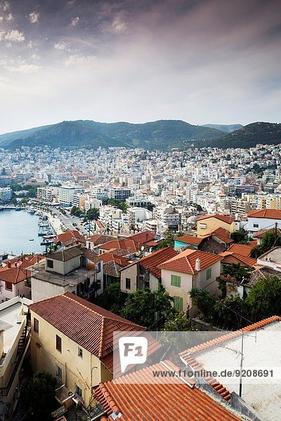 Greece  East Macedonia and Thrace Region  Kavala  Old Town from the Kastro Fortress.