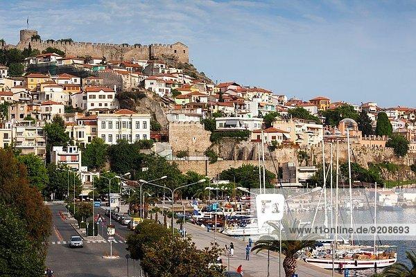 Stadt Festung Ansicht Erhöhte Ansicht Aufsicht heben Geographie Nachmittag Griechenland Kastro alt