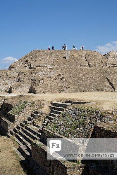 Mexico  Oaxaca  Monte Alban  Sunken Patio (foreground)  Building E (background).