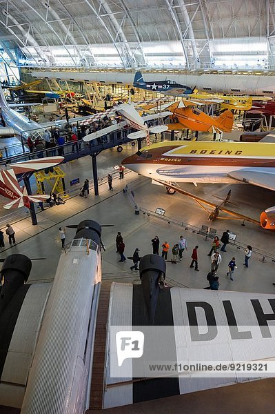USA  Virginia  Herdon  National Air and Space Museum  Steven F. Udvar-Hazy Center  air museum  elevated view of 1930s-era German Junkers JU-52 airliner.