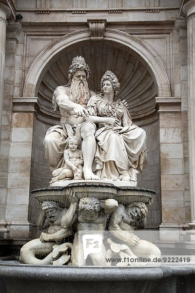 Neptune Fountain  Albertina Square  Vienna  Austria