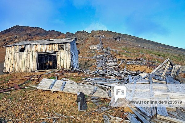 Old buildings at historic Red Rose mine site  Kitseguecla  British Columbia  Canada.