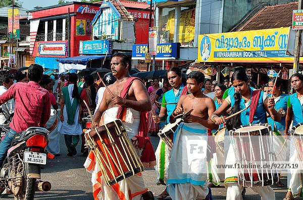 A group of drummers at the Hindu festival in Kerala  India.