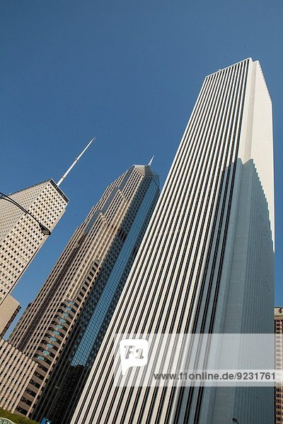 Gebäude Globalisierung 3 hoch oben Chicago