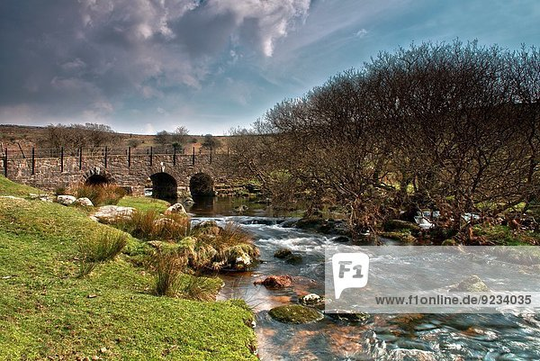 Little Wonder Bridge ( an old disused granite bridge ) On The River Walkham at Merrivale near Tavistock in Dartmoor National Park  Devon  England.