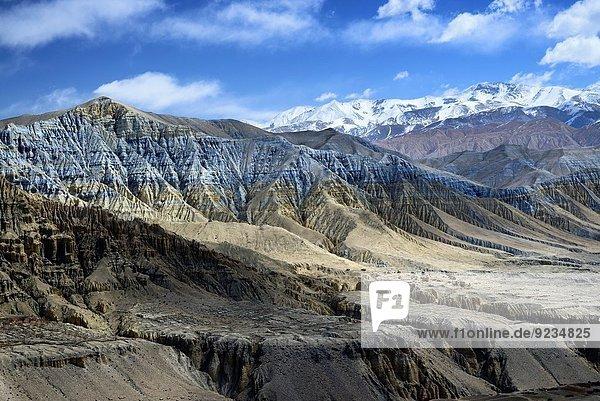nahe Landschaft Dorf Grenze Mineral Mustang Nepal Tibet