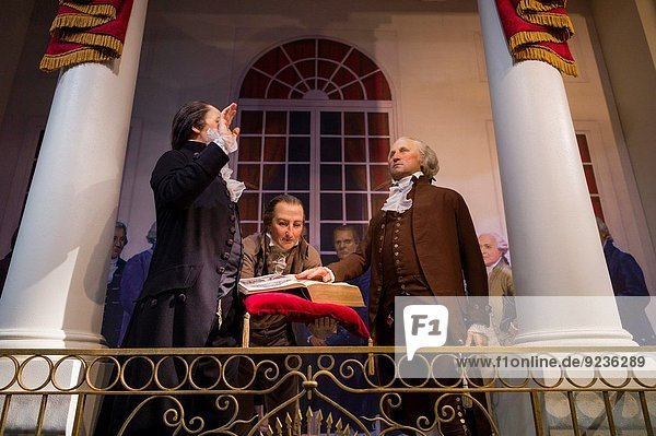 USA  Virginia  Alexandria  Mount Vernon Museum  diorama of George Washington taking the oath of office as first US President.