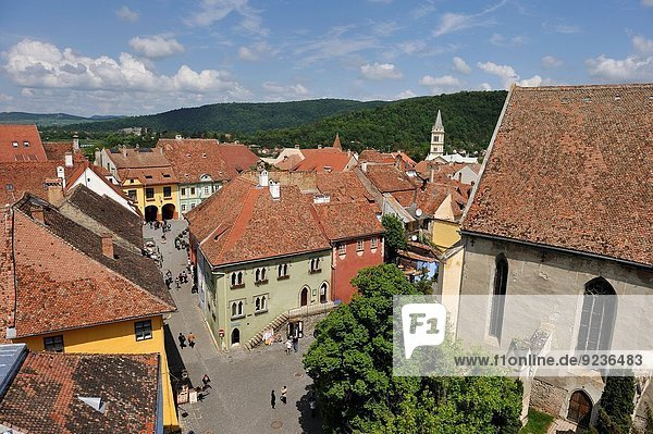view over the Old Town from the Clock Tower  Sighisoara  Transylvania  Romania  Southeastern and Central Europe.