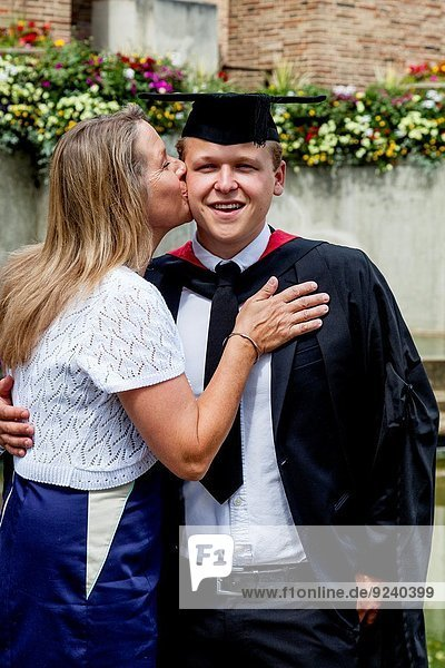 A Proud Mother and Her Graduate Son At The University of Western England (UWE) Degree Ceremony  Bristol  England.