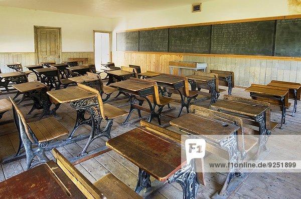 Schoolroom interior  Bannack State Park Montana.
