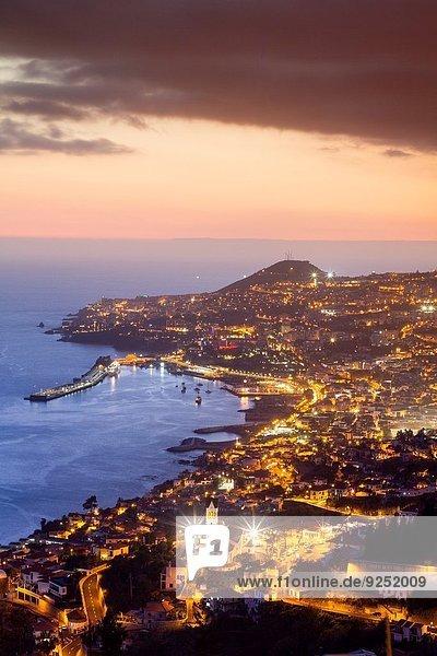 Panorama Sonnenuntergang Ansicht Aussichtsplattform Funchal Madeira Portugal