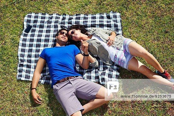 Draufsicht auf das Pärchen  das die Hände auf der Picknickdecke hält.