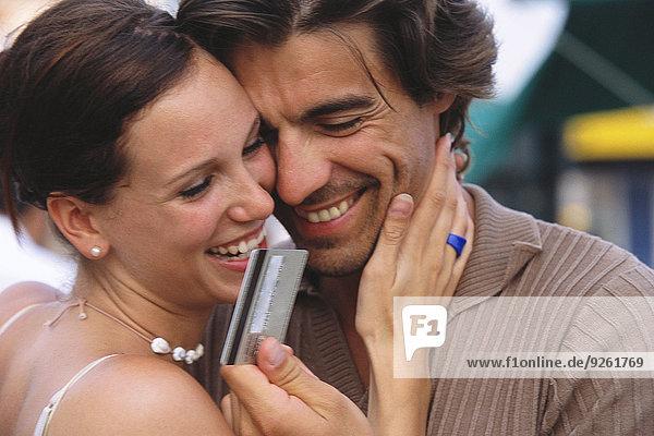 lächeln Kredit Kreditkarte Karte Untersuchung
