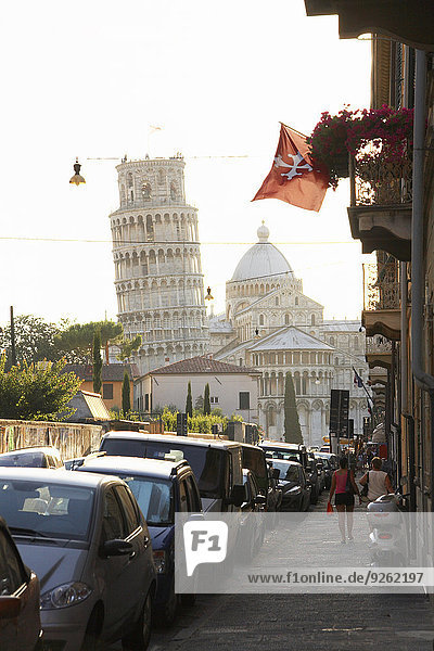 View of the Leaning Tower of Pisa from city street  Pisa  Toscano  Italy