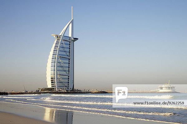 Burj Al Arab Hotel on beach  Dubai  United Arab Emirates
