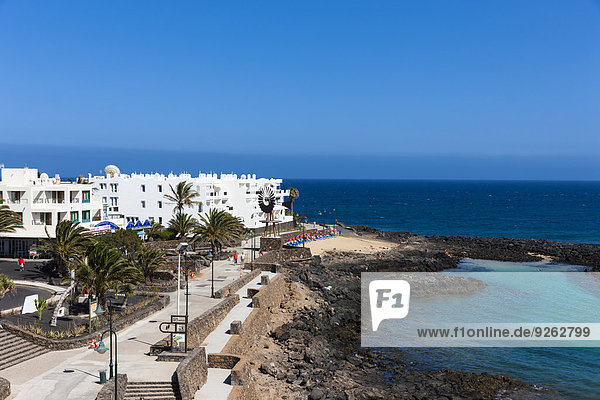 Spain  Canary Islands  Lanzarote  white houses at Costa Teguise