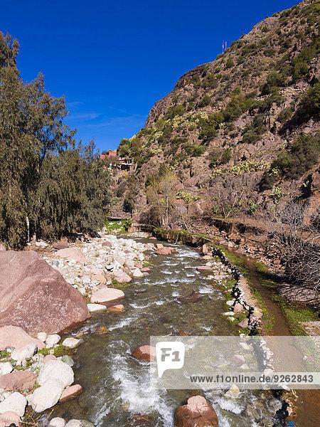Marokko  Marrakesch-Tensift-El Haouz  Atlasgebirge  Ourika-Tal  Tighfert  Oued Ourika-Fluss