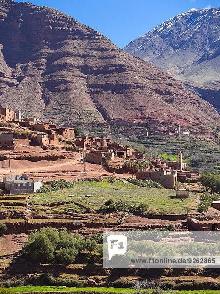 Marokko  Marrakesch-Tensift-El Haouz  Atlasgebirge  Ourika-Tal  Dorf Anammer  Lehmhäuser