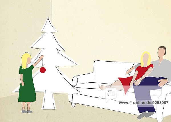 Familie am Weihnachtsbaum  Illustration