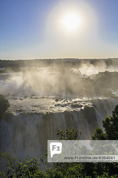 Südamerika  Brasilien  Parana  Iguazu-Nationalpark  Iguazu-Fälle gegen die Sonne