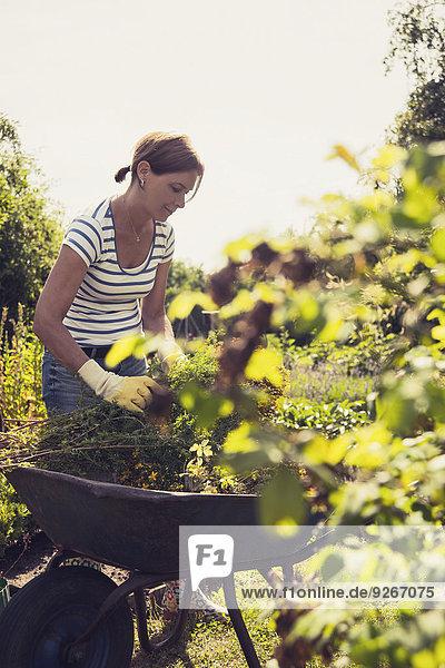 Reife Frau im Garten