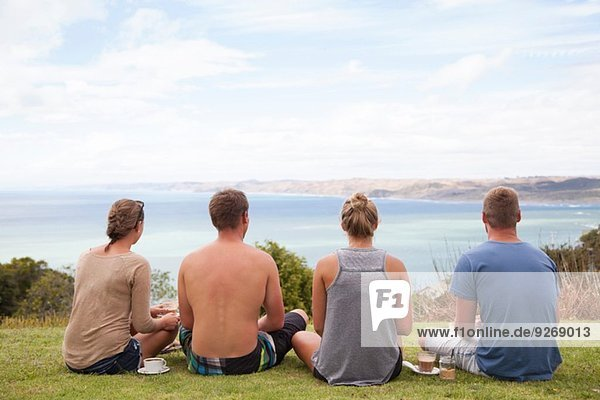 Rear view of four friends sitting looking away to sea