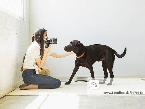 Frau Hund fotografieren Studioaufnahme