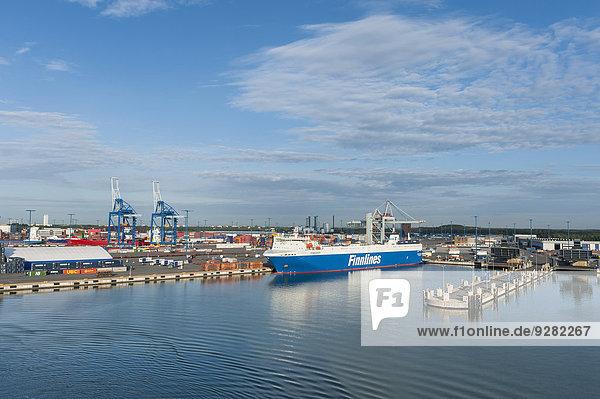 Helsinki Hauptstadt Schiff Container