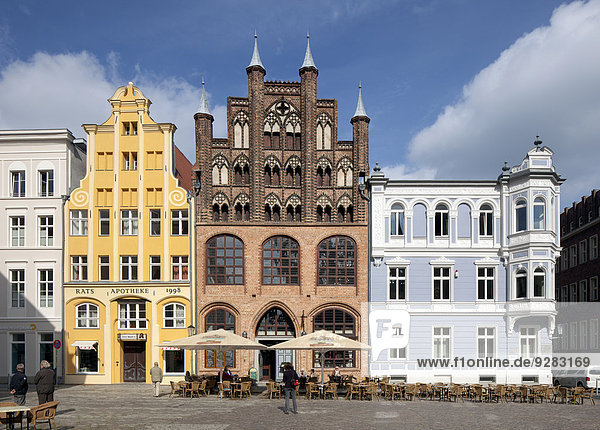 Historical town houses with Northern German gable architecture in the historic centre of Stralsund  Mecklenburg-Western Pomerania  Germany
