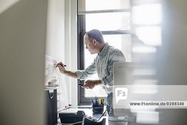 Büroalltag. Ein Mann steht auf  arbeitet und macht sich Notizen auf einer Wandkarte. Die Projektleitung.
