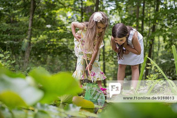 Zwei Mädchen spielen an einem Teich in einem Wald.