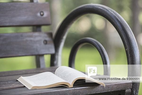Offenes Buch auf Bank im Park