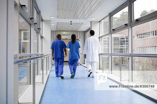 Drei Mediziner gehen gemeinsam einen Gang in einem Krankenhaus entlang  Rückansicht