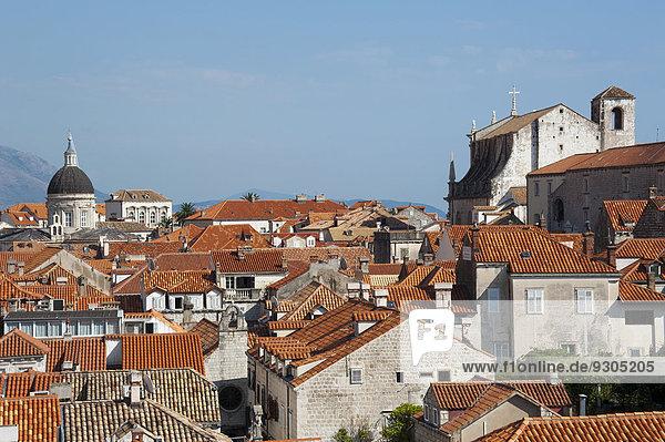 View from the city walls  historic centre  Dubrovnik  Dalmatia  Croatia