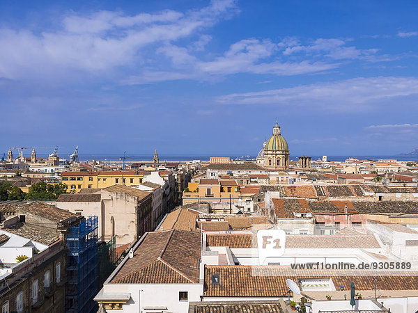View from the church SS Salvatore across the historic centre  the church of San Giuseppe dei Teatini at theback  Palermo  Sicily  Italy
