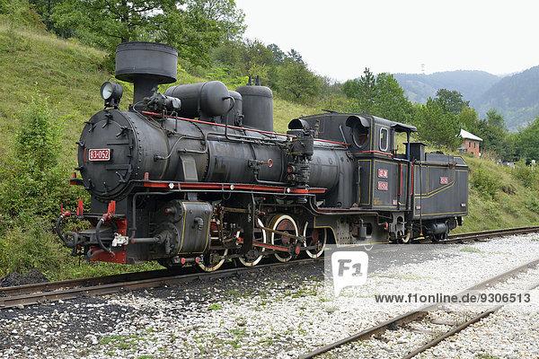 Steam locomotive of the ?argan Eight  narrow-gauge heritage railway from Mokra Gora to Sargan Vitasi  Mokra Gora  Serbia